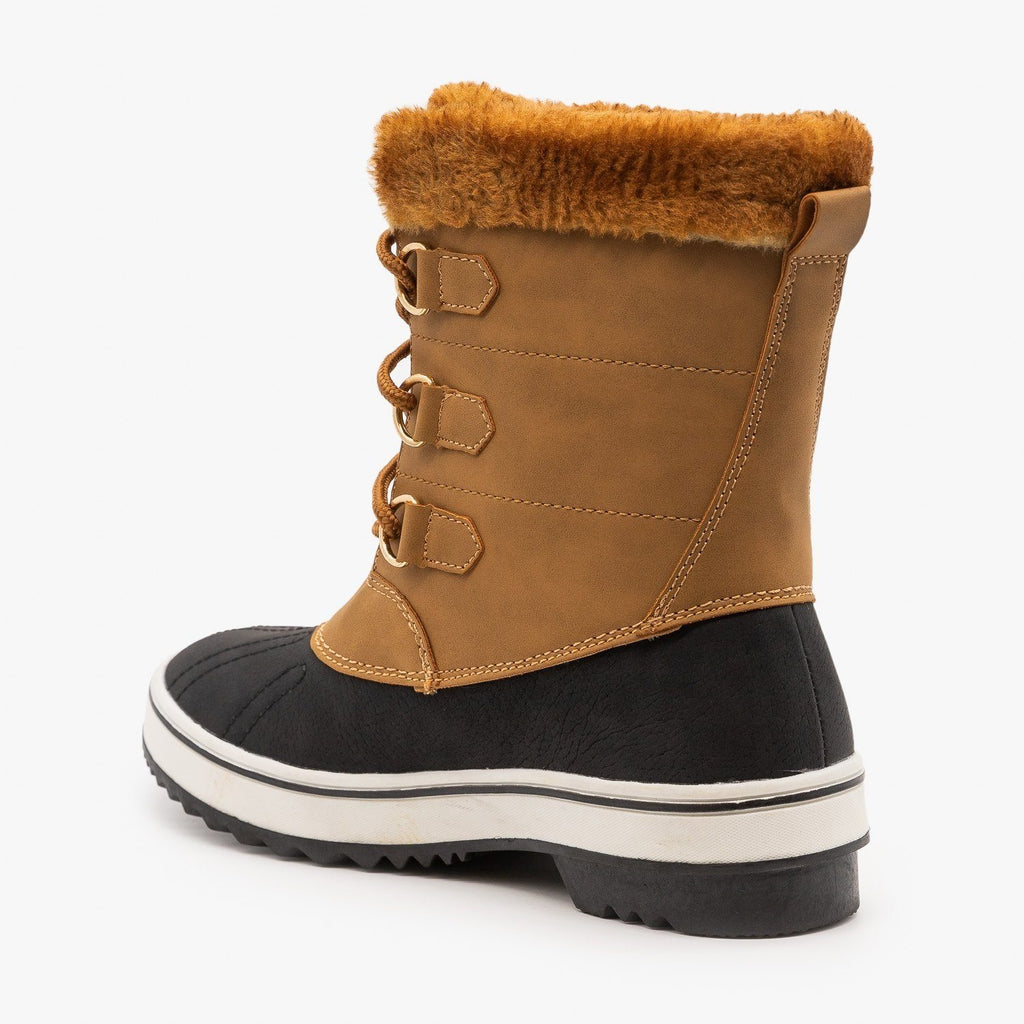 Womens Lace Up Cuffed Winter Boots - Top Moda