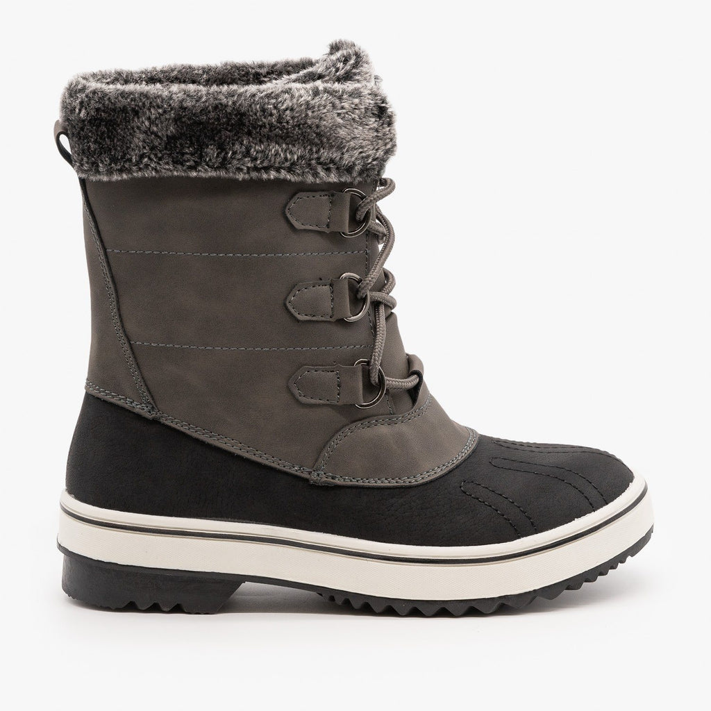 Womens Lace Up Cuffed Winter Boots - Top Moda - Gray / 5
