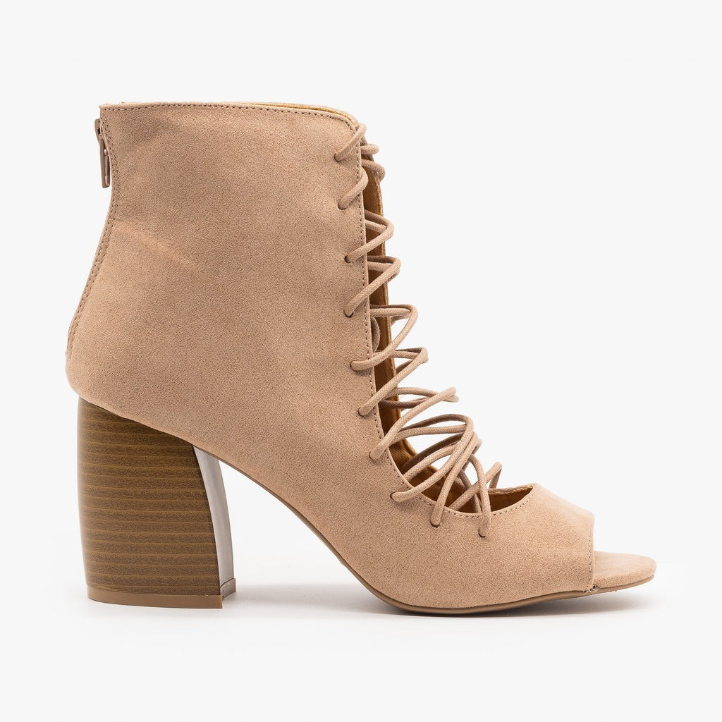 Womens Lace-Up Cut-Out Heel Booties - Qupid Shoes