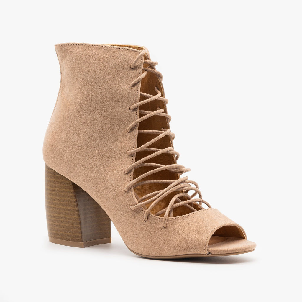 Womens Lace-Up Cut-Out Heel Booties - Qupid Shoes - Warm Taupe / 5