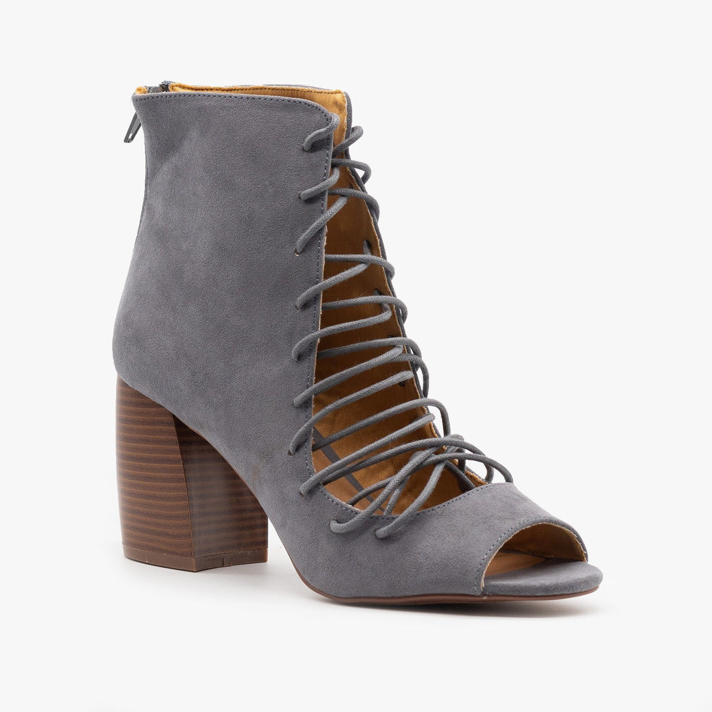 Womens Lace-Up Cut-Out Heel Booties - Qupid Shoes - Steel Gray / 5