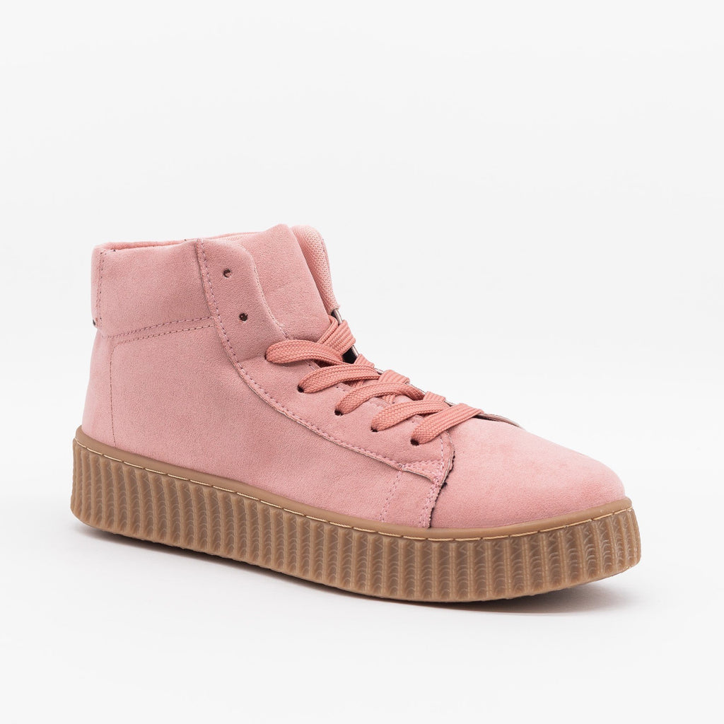 Womens Lace-Up High-Top Fashion Sneakers - Qupid Shoes - Pink / 5