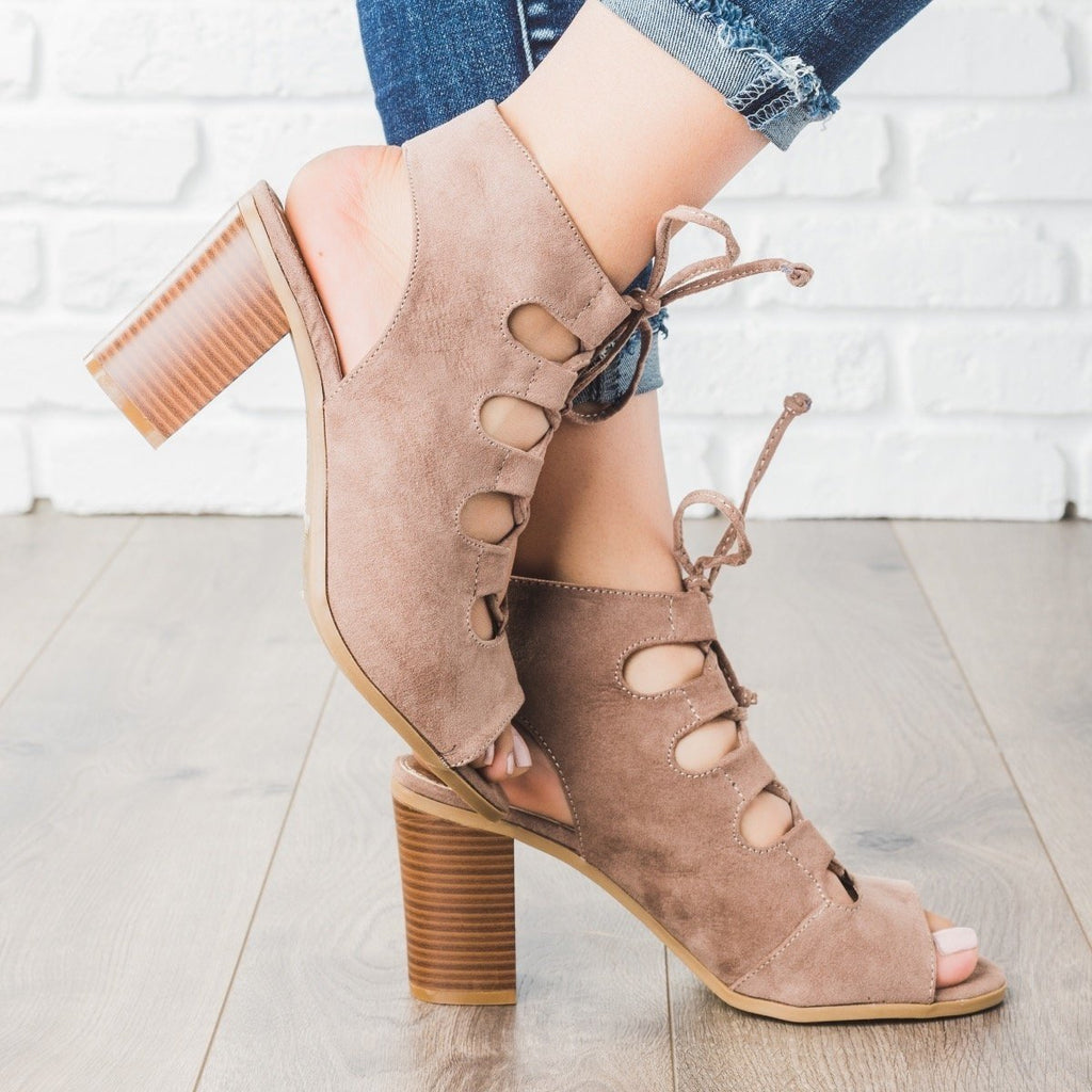 Womens Lace-up Peep Toe Chunky Heels - Bella Marie