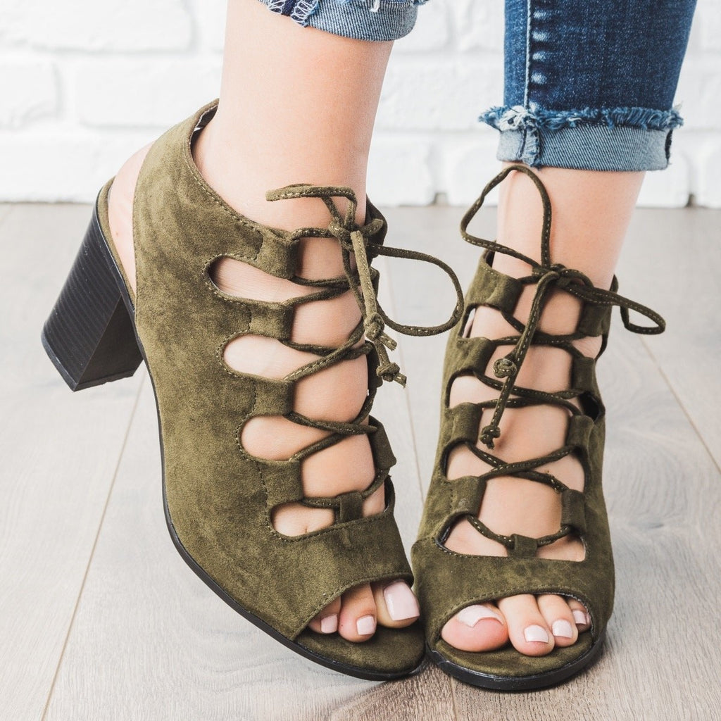 Womens Lace-up Peep Toe Chunky Heels - Bella Marie - Olive Green / 5