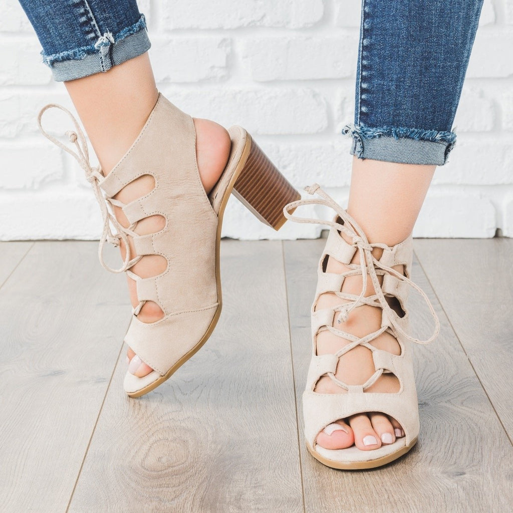 Womens Lace-up Peep Toe Chunky Heels - Bella Marie - Beige / 5