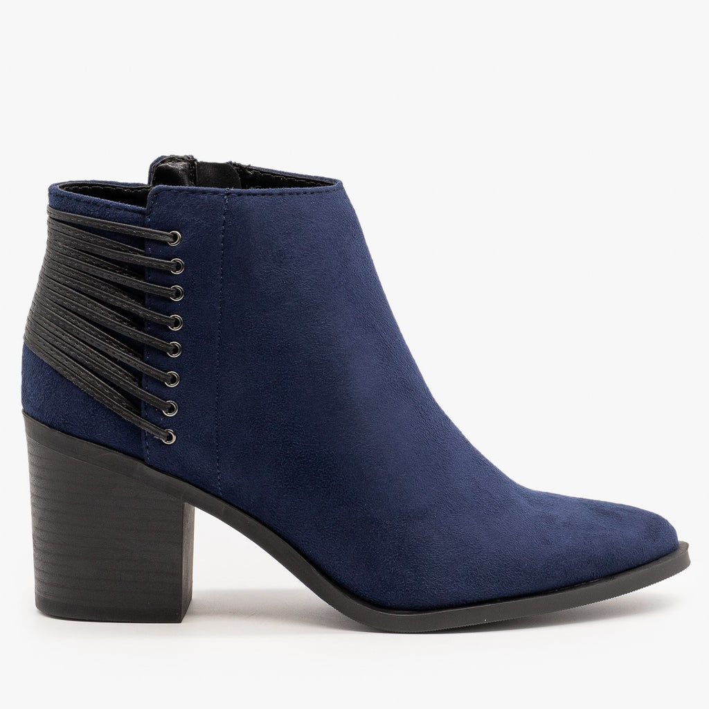 Womens Lace-Up Pointed Toe Booties - Soda Shoes - Navy / 5