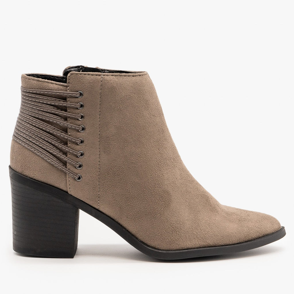 Womens Lace-Up Pointed Toe Booties - Soda Shoes - Taupe / 5