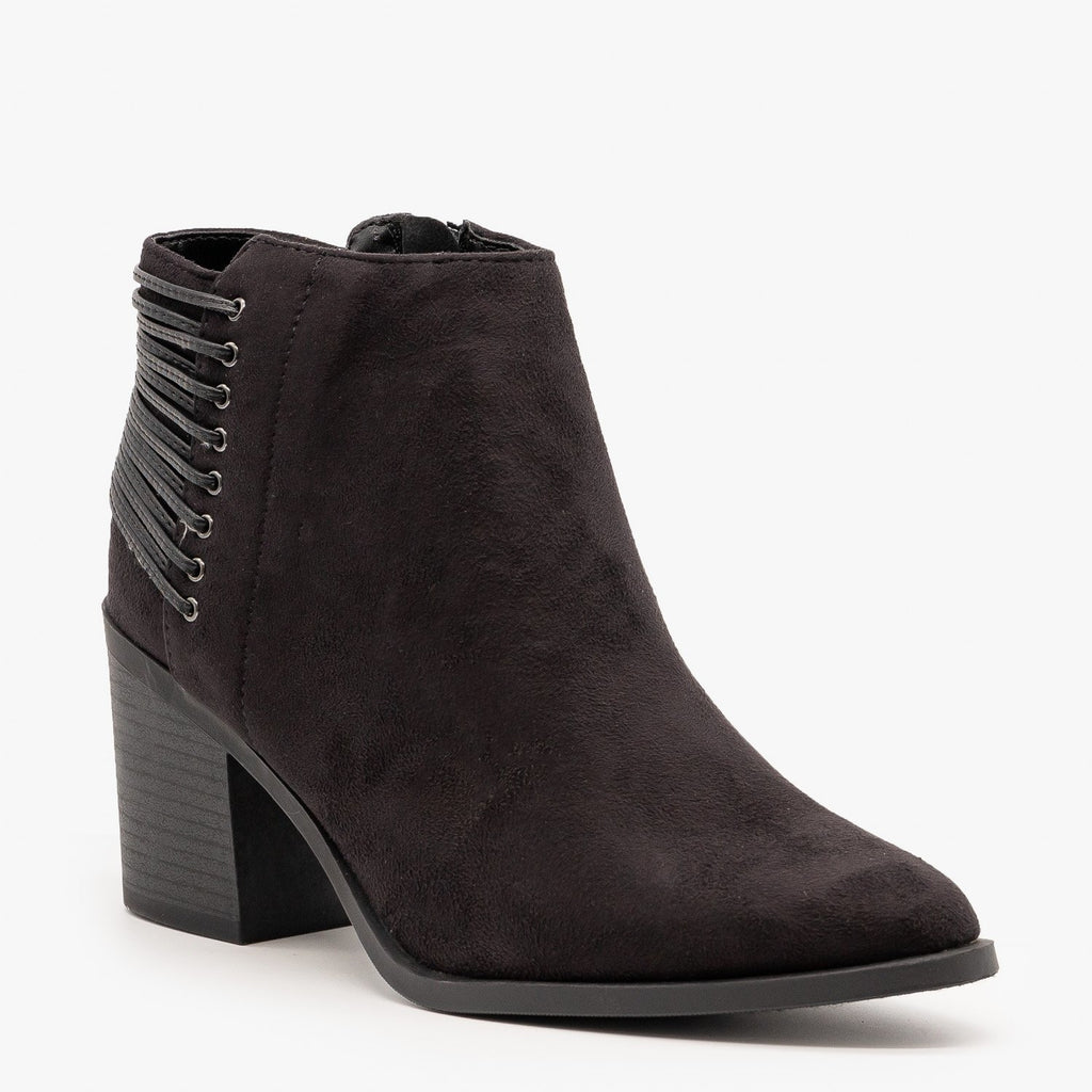 Womens Lace-Up Pointed Toe Booties - Soda Shoes