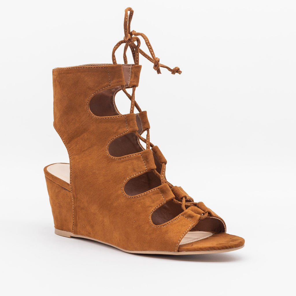 Womens Lace-Up Sandal Wedges - Qupid Shoes - Chestnut / 5