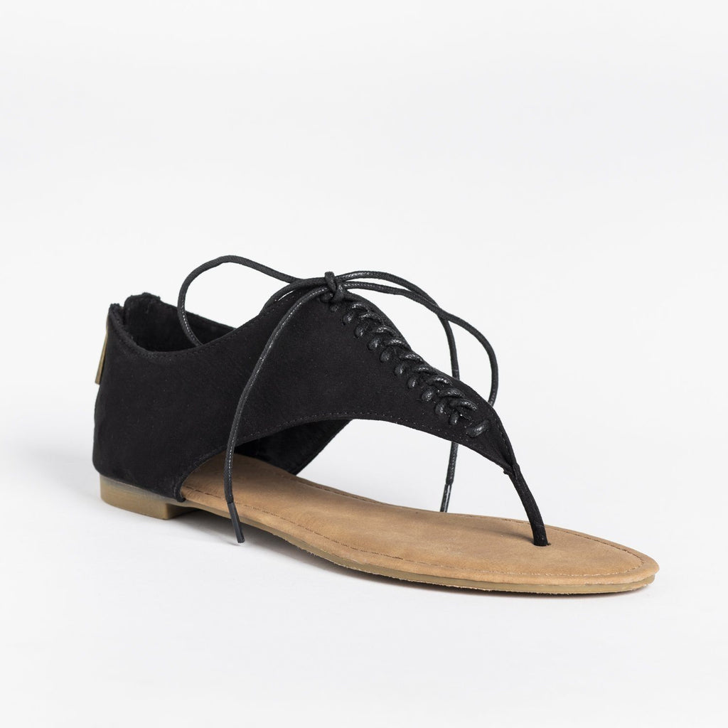 Womens Lace Up Thong Sandals - Bamboo Shoes - Black / 5