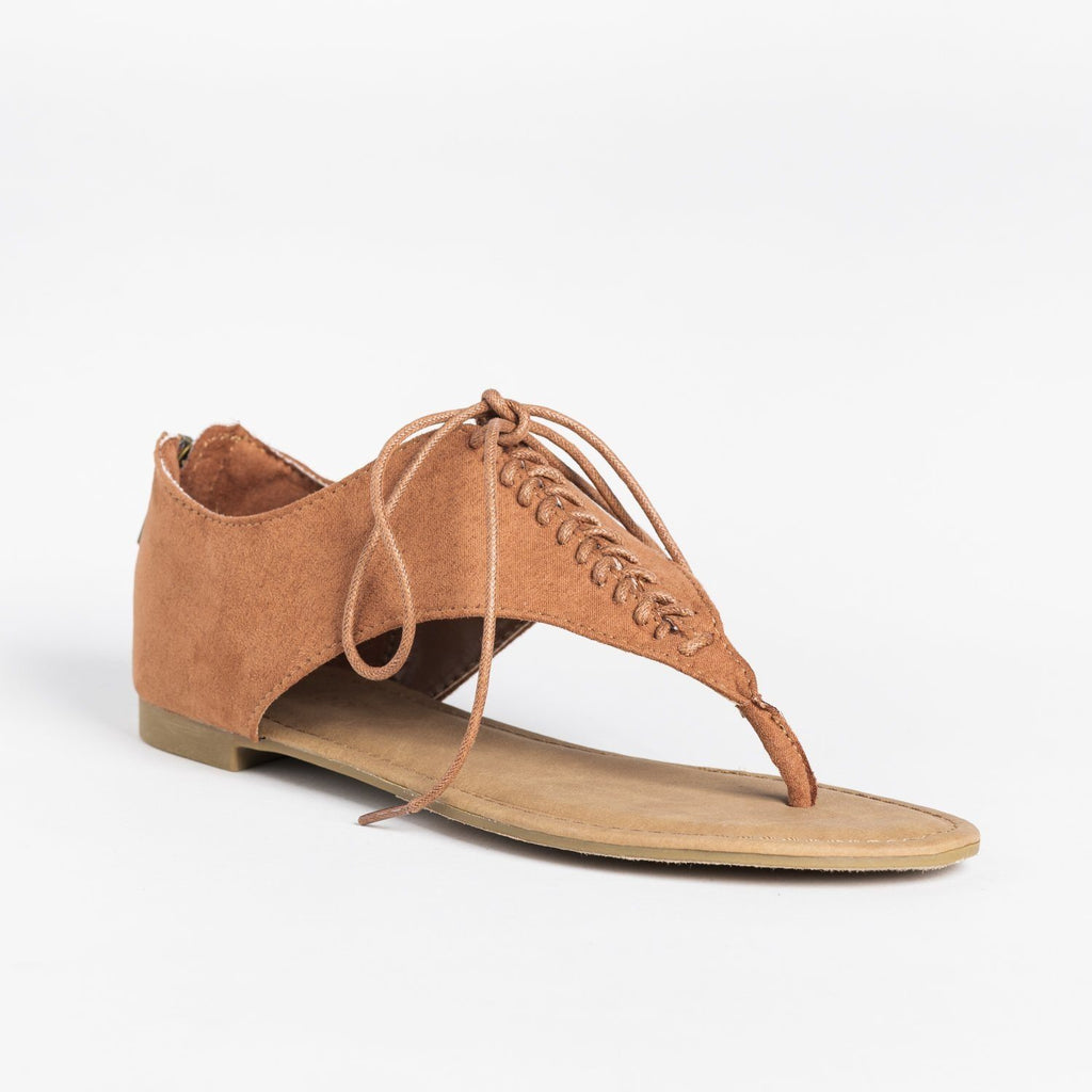 Womens Lace Up Thong Sandals - Bamboo Shoes - Mocha / 5