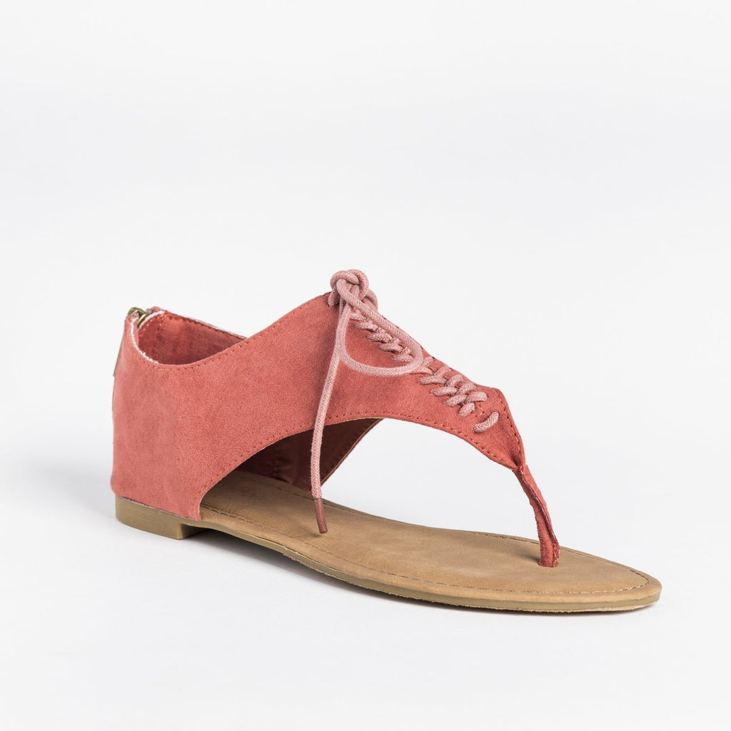 Womens Lace Up Thong Sandals - Bamboo Shoes - Dark Mauve / 5