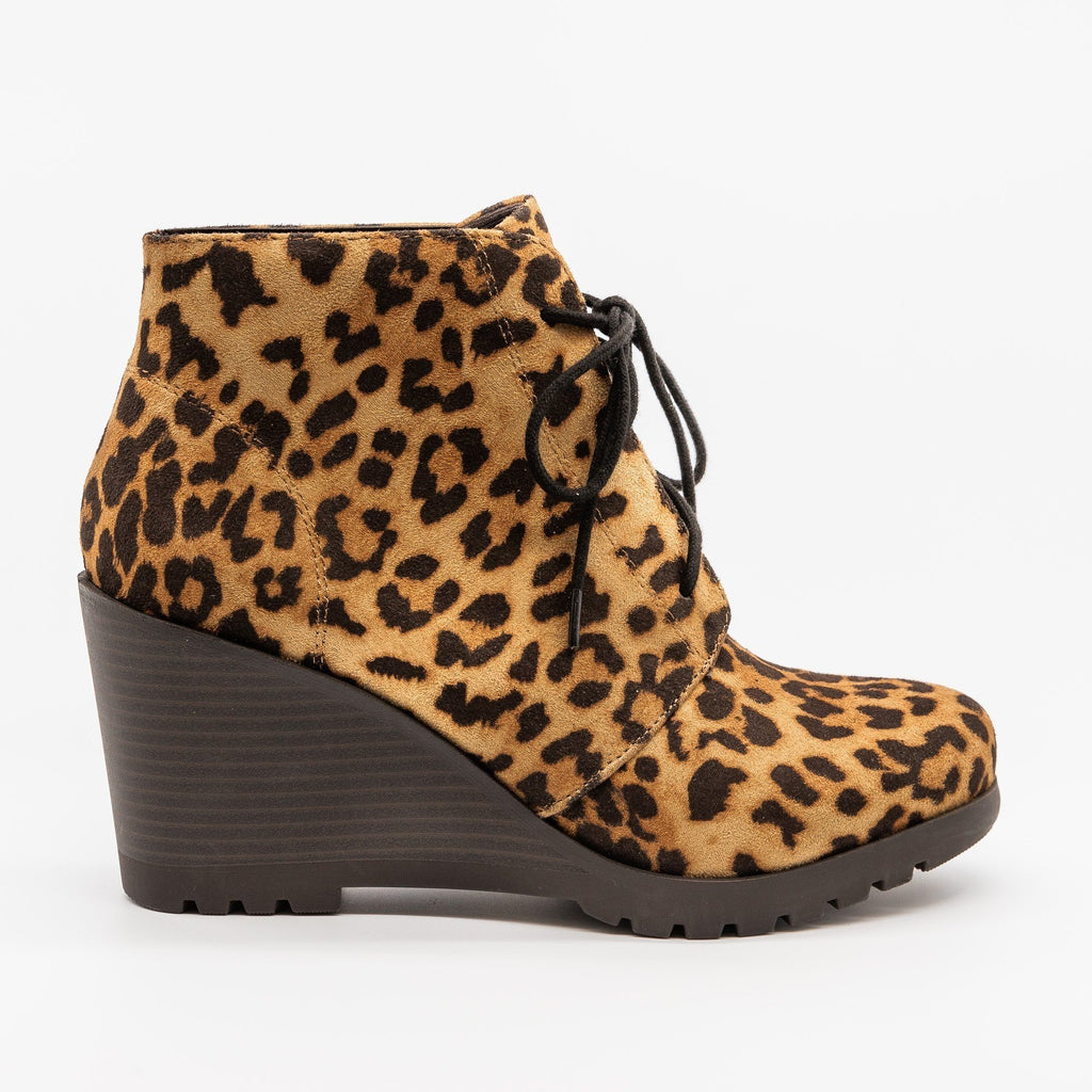 Womens Lace-Up Wedge Ankle Booties - Soda Shoes - Camel Leopard / 5