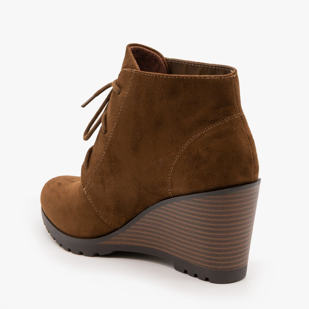 Womens Lace-Up Wedge Ankle Booties - Soda Shoes