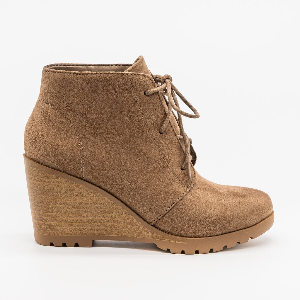 Womens Lace-Up Wedge Ankle Booties - Soda Shoes - Warm Taupe / 5