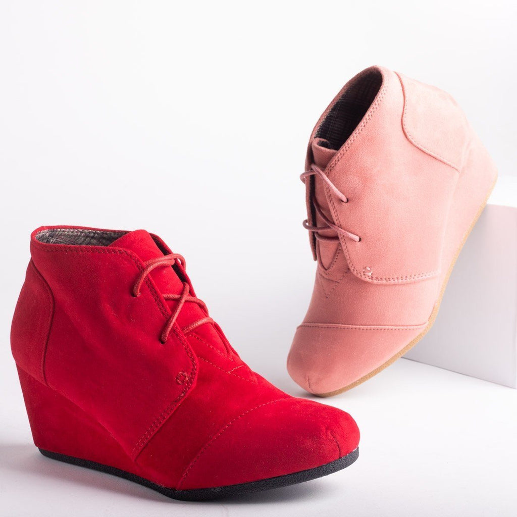 Womens Lace-Up Wedge Booties - Forever - Red / 7