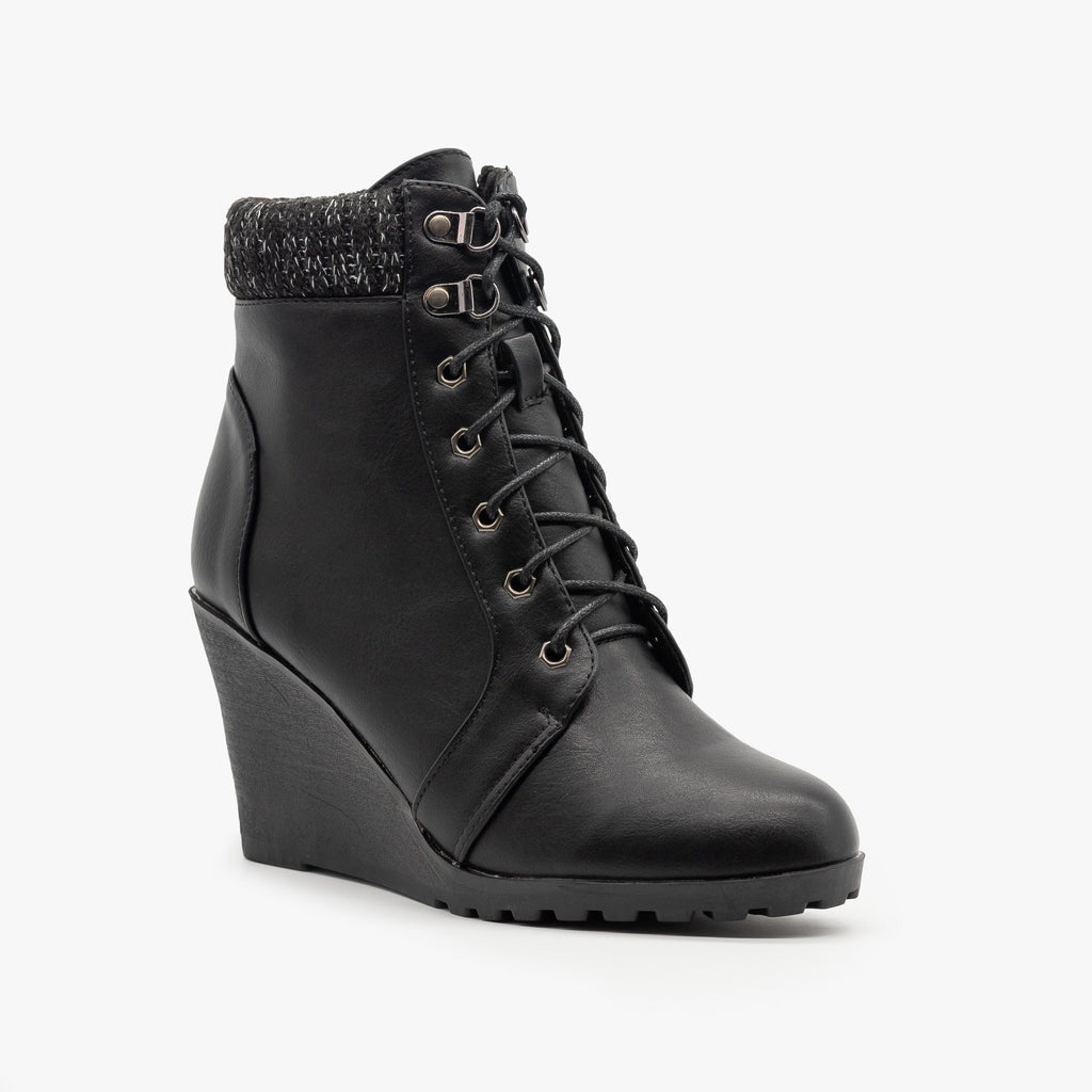 Womens Lace Up Wedge Booties - Top Moda - Black / 5