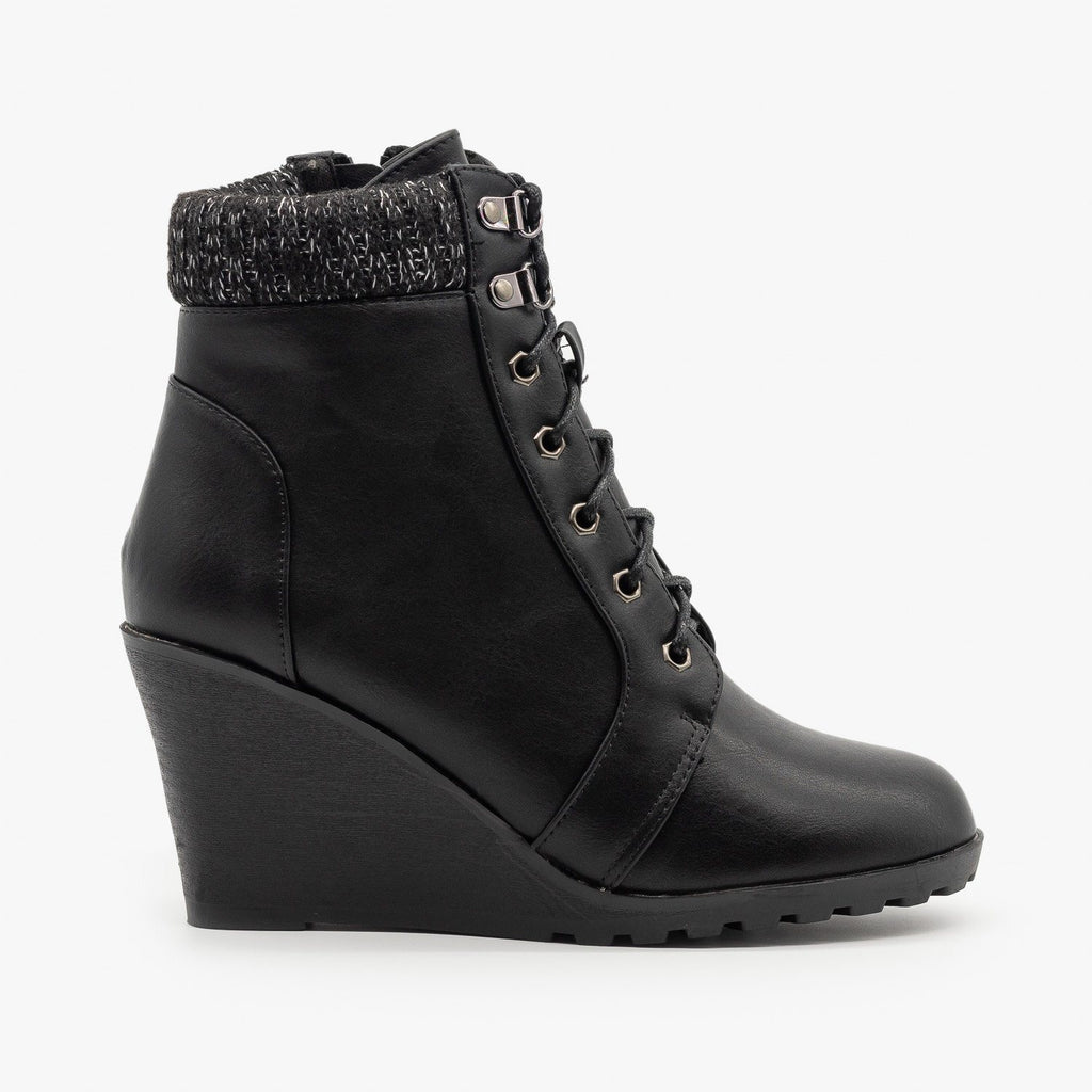 Womens Lace Up Wedge Booties - Top Moda