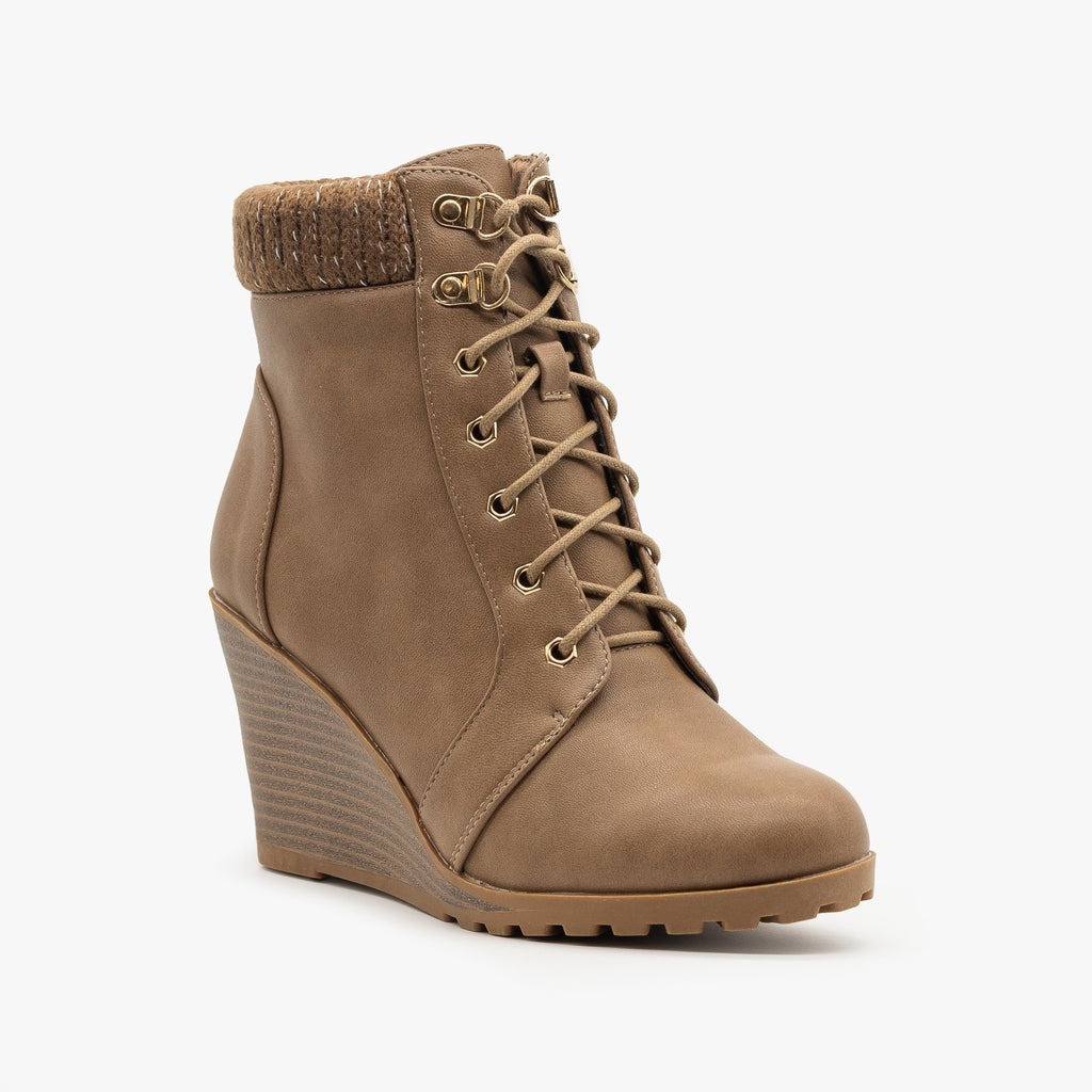 Womens Lace Up Wedge Booties - Top Moda - Khaki / 5