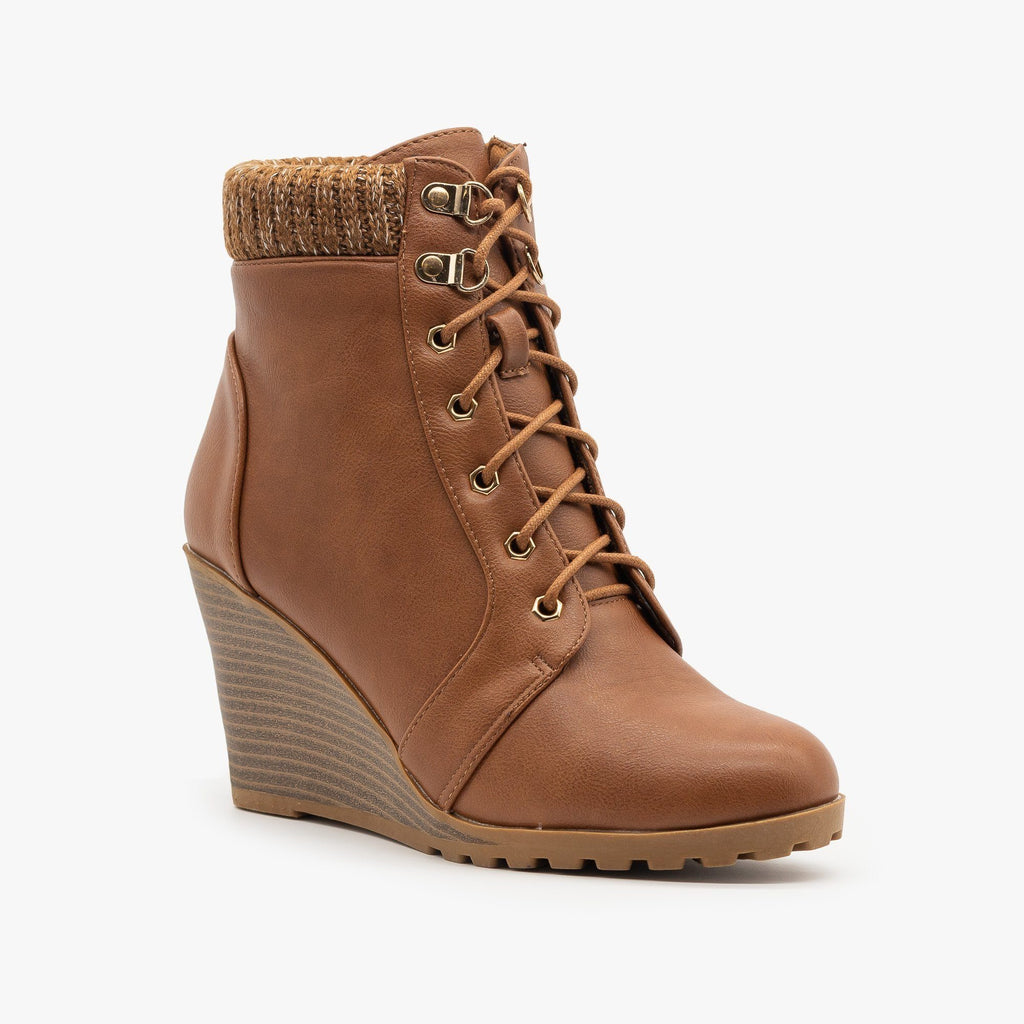 Womens Lace Up Wedge Booties - Top Moda - Tan / 5
