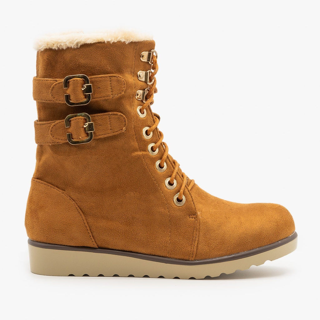 Womens Lace Up Winter Boots - Lucita Shoes - Camel / 5