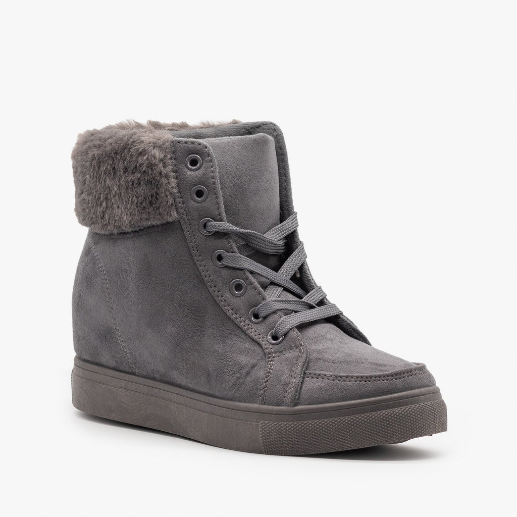 Womens Lace-Up Winter Boots - Refresh - Gray / 5