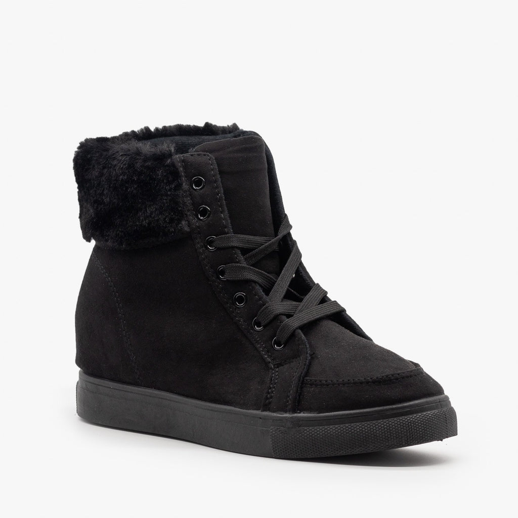 Womens Lace-Up Winter Boots - Refresh - Black / 5