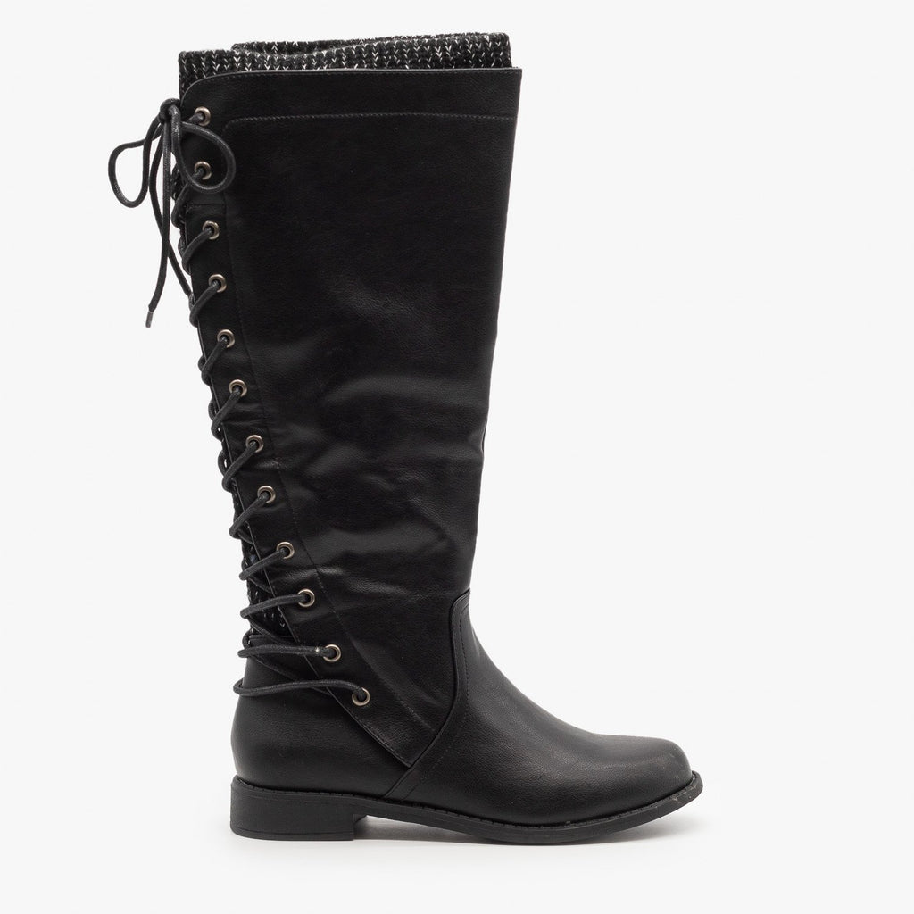 Womens Laced Back Riding Boots - Cherish - Black / 5
