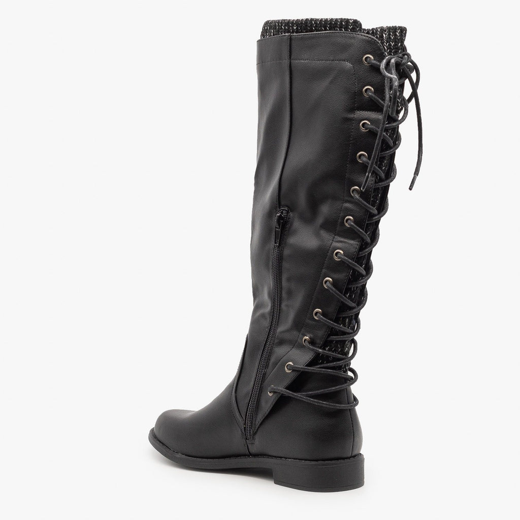 Womens Laced Back Riding Boots - Cherish