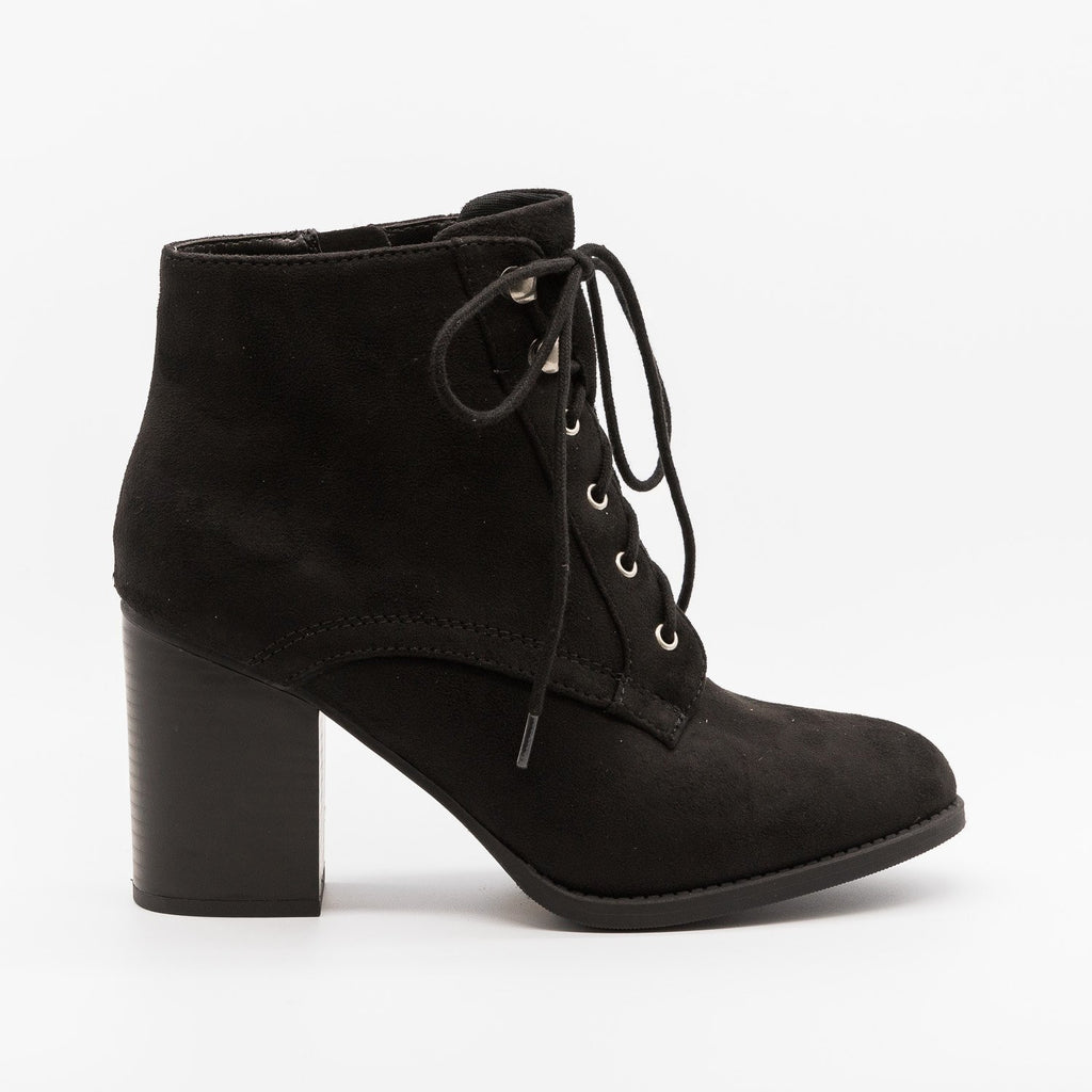 Womens Laced Oxford Booties - Soda Shoes - Black / 5