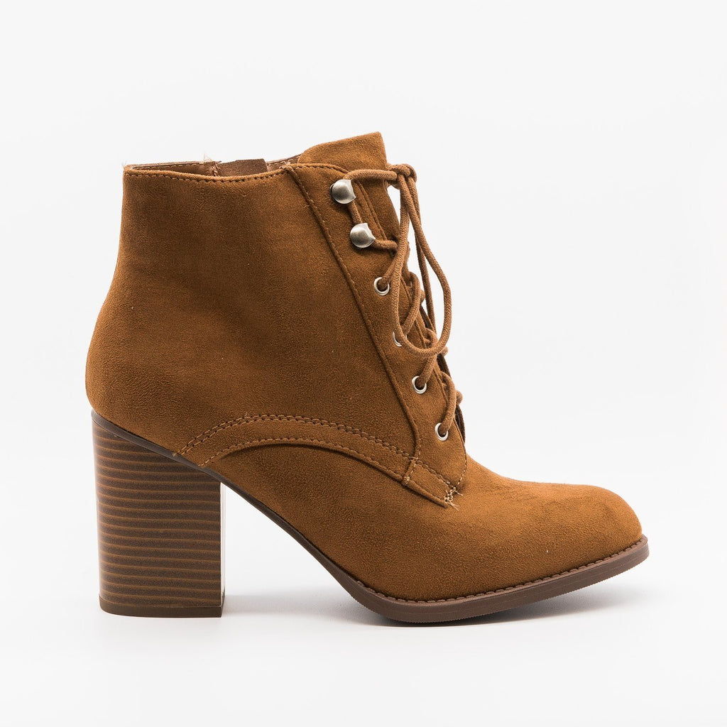 Womens Laced Oxford Booties - Soda Shoes - Chestnut / 5