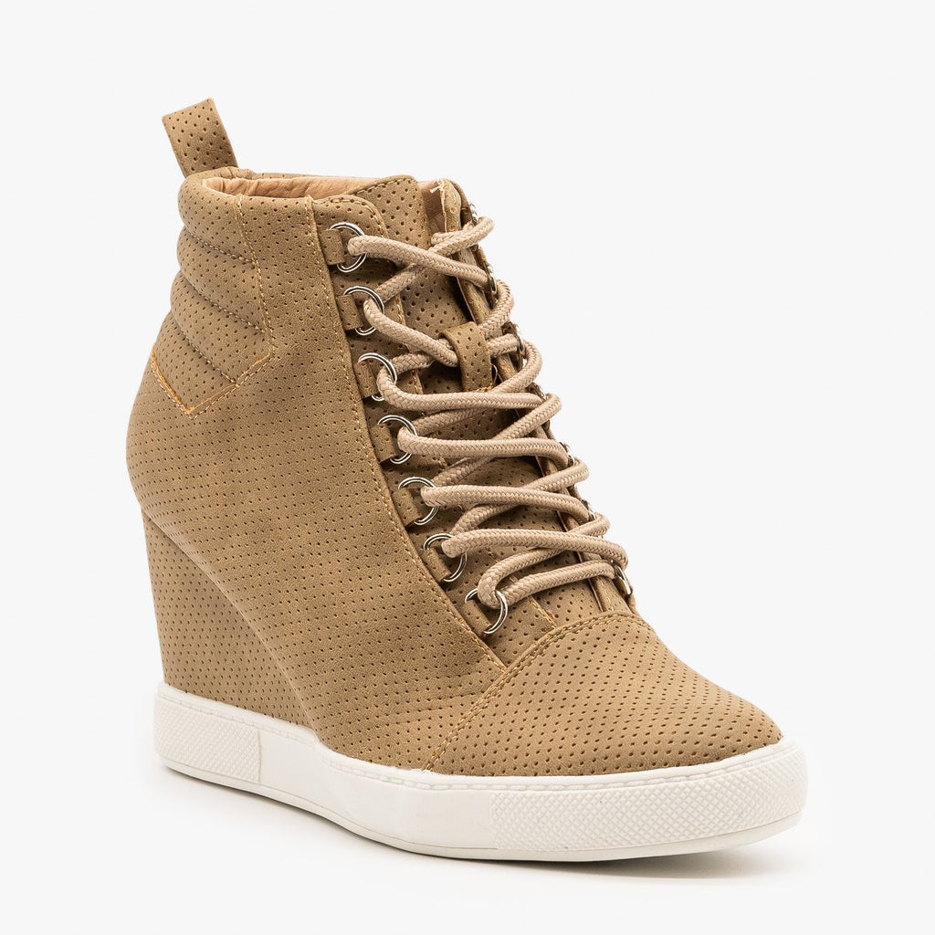 Womens Laced Pinhole Sneaker Wedges - AMS Shoes