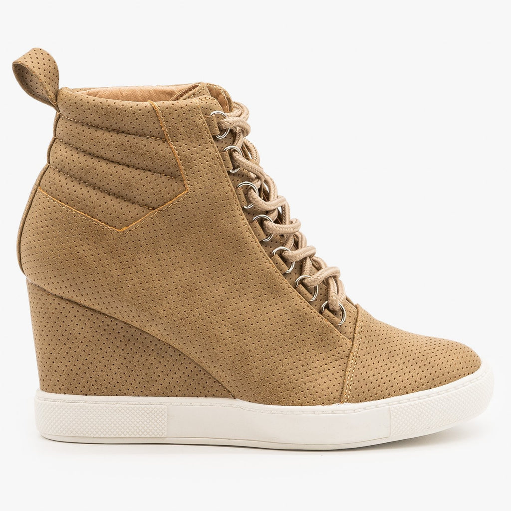 Womens Laced Pinhole Sneaker Wedges - AMS Shoes - Tan / 5