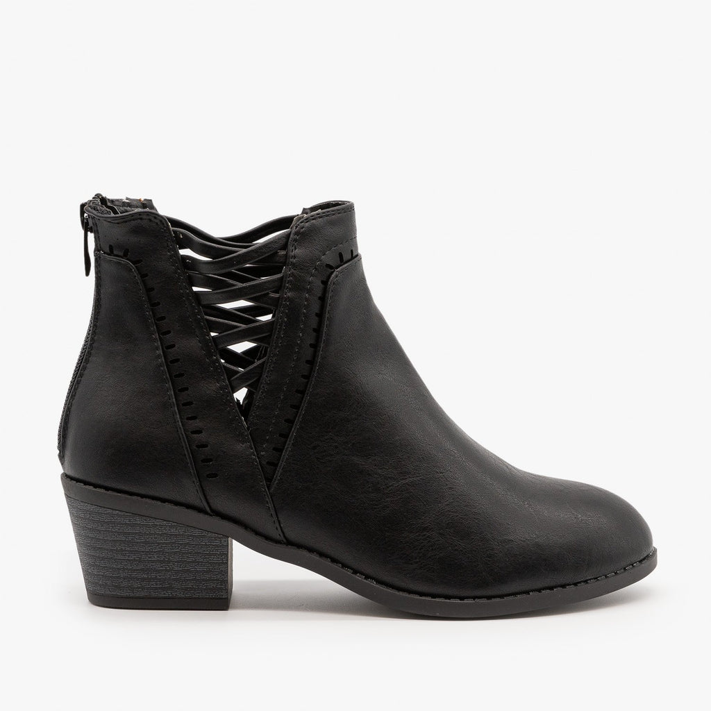 Womens Laced V-Cut Ankle Booties - Forever - Black / 5