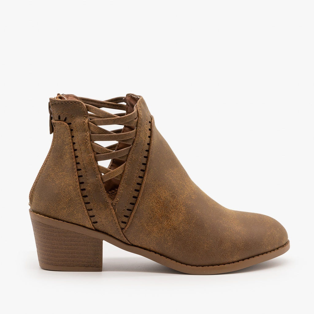 Womens Laced V-Cut Ankle Booties - Forever - Tan / 5