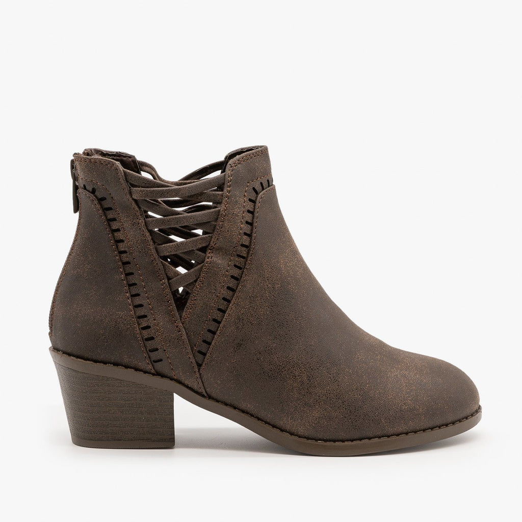 Womens Laced V-Cut Ankle Booties - Forever - Brown / 5