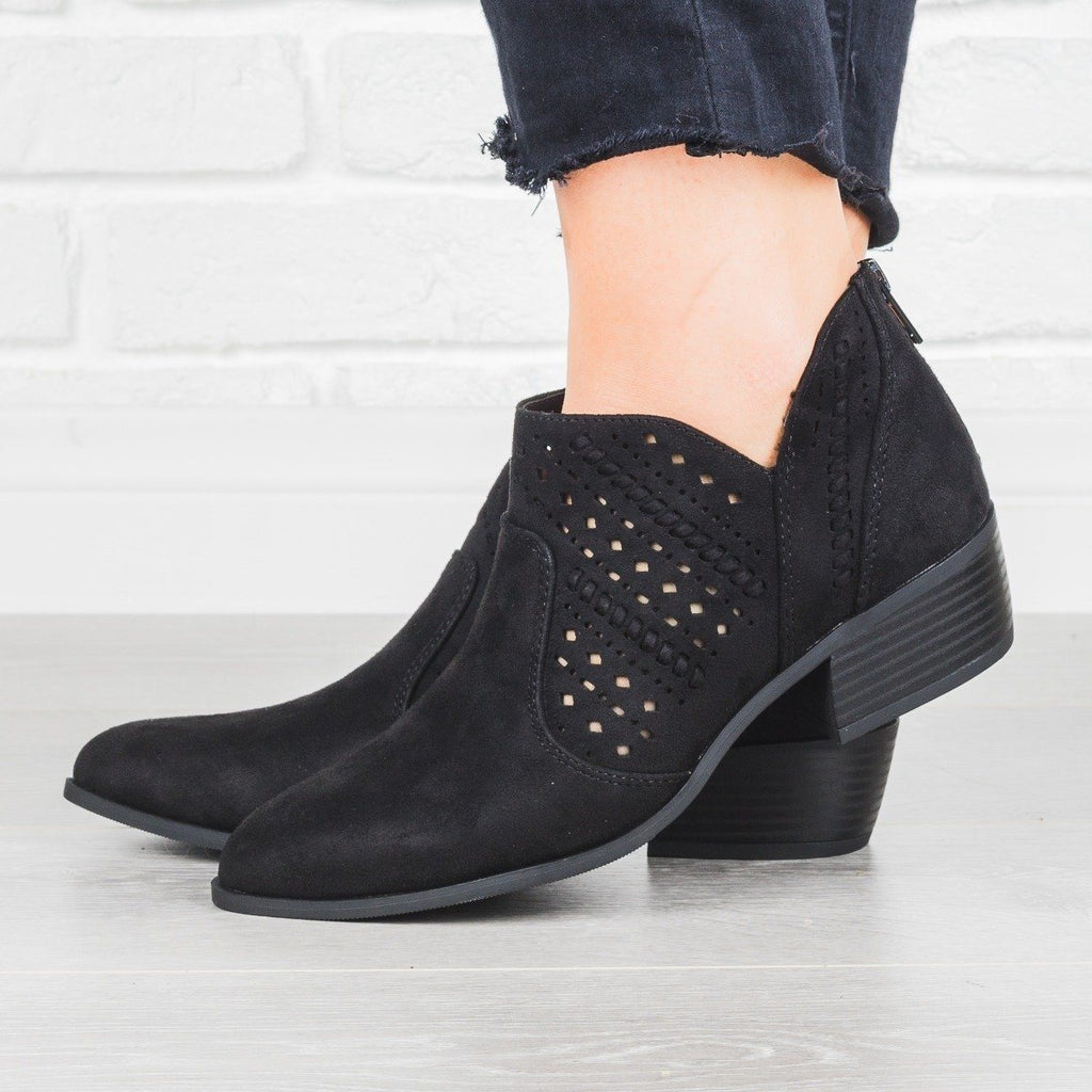 Womens Laser Cut Almond Toe Booties - City Classified Shoes - Black / 5
