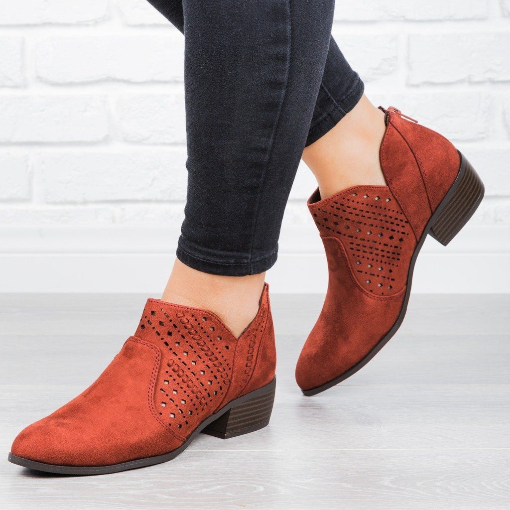 Womens Laser Cut Almond Toe Booties - City Classified Shoes - Dark Rust / 5
