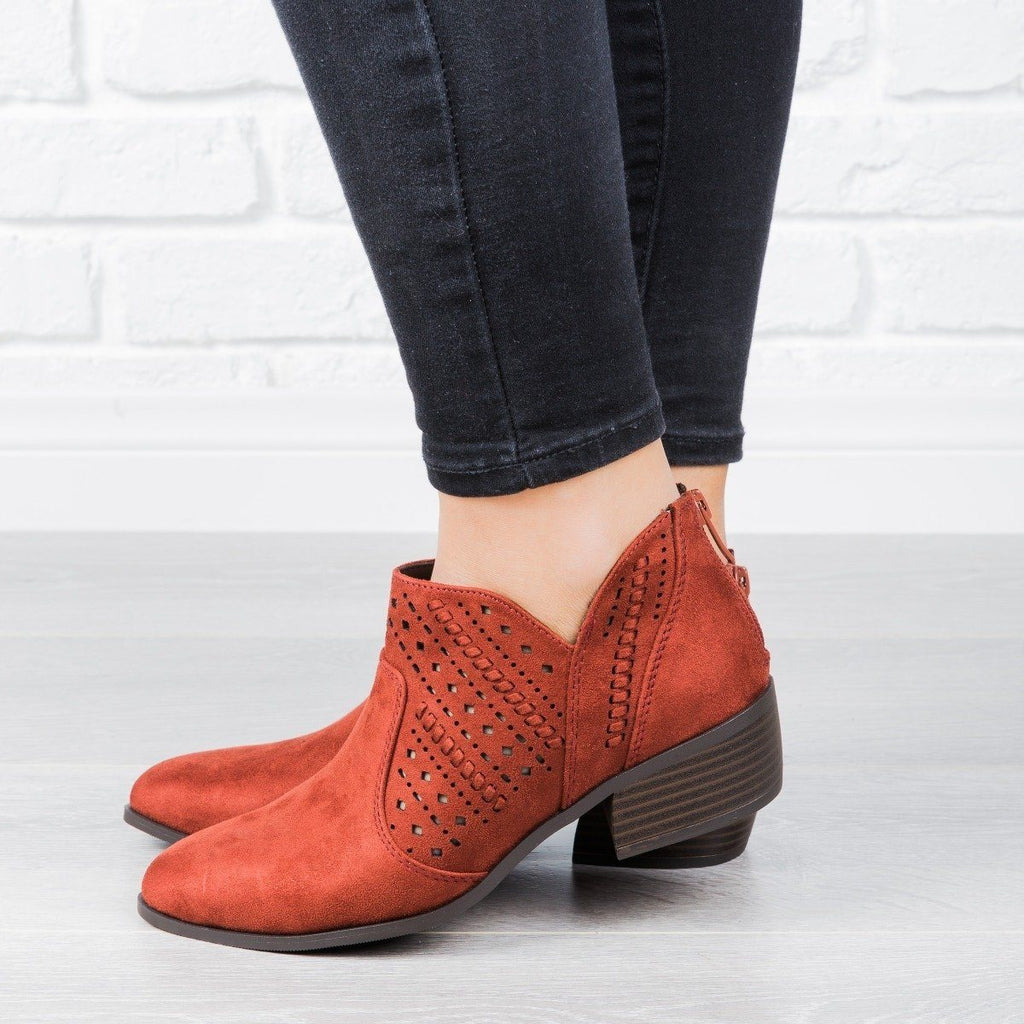Womens Laser Cut Almond Toe Booties - City Classified Shoes
