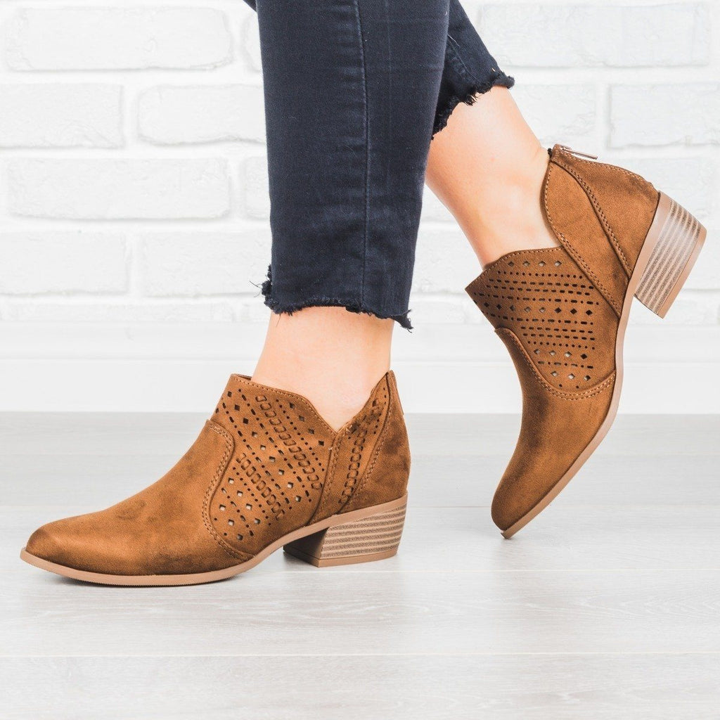 Womens Laser Cut Almond Toe Booties - City Classified Shoes - Chestnut / 5