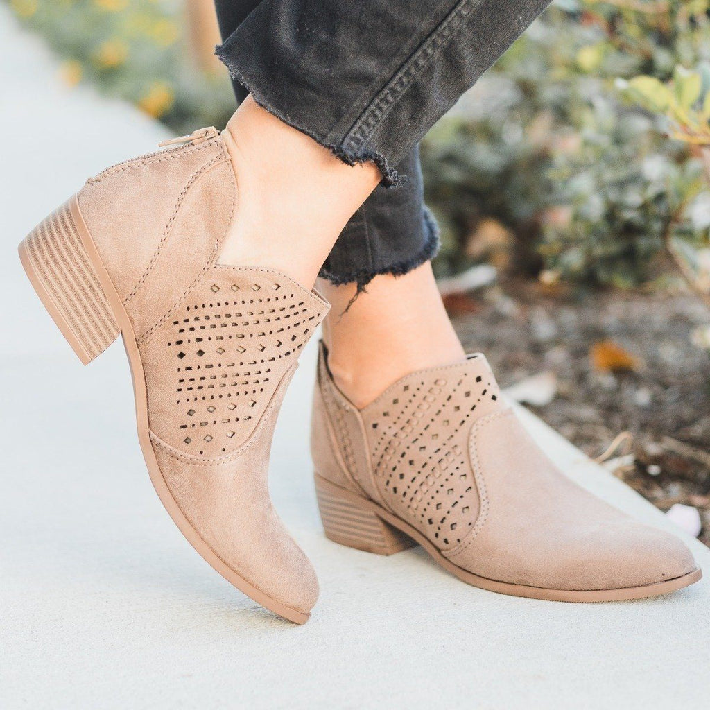Womens Laser Cut Almond Toe Booties - City Classified Shoes - Warm Taupe / 5