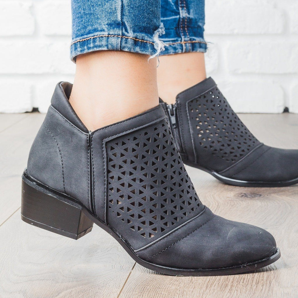 Womens Laser Cut Ankle Boot - Soho Girls