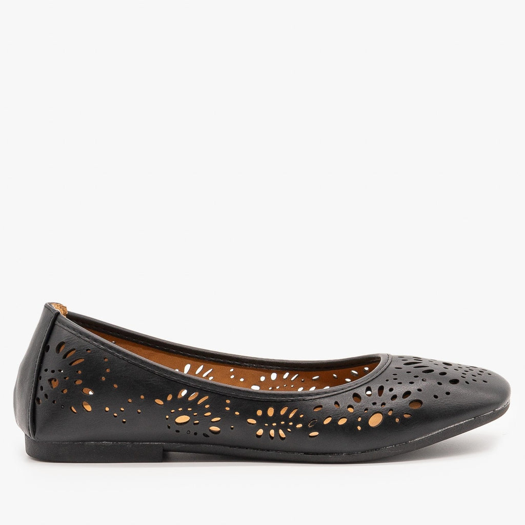 Womens Laser Cut Ballet Flats - Bamboo Shoes - Black / 5