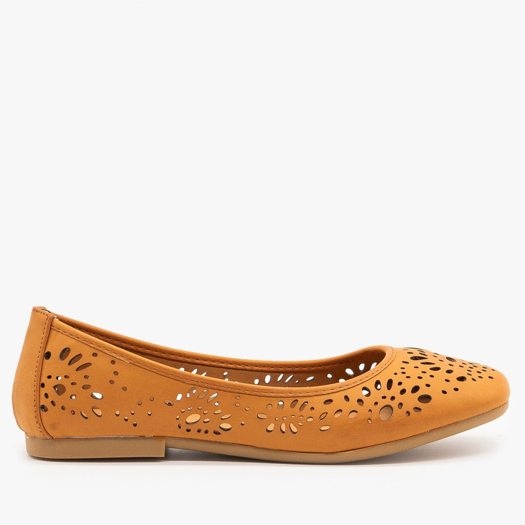 Womens Laser Cut Ballet Flats - Bamboo Shoes - Tan / 5