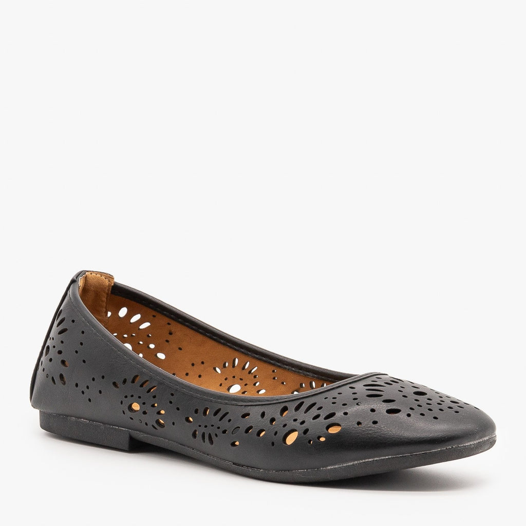 Womens Laser Cut Ballet Flats - Bamboo Shoes