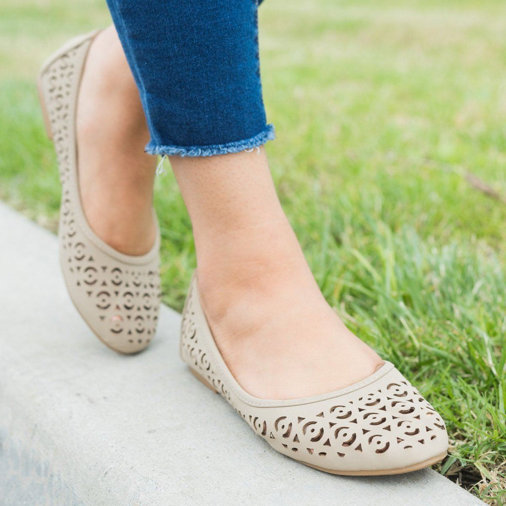 Womens Laser Cut Ballet Flats - Forever - Taupe / 11