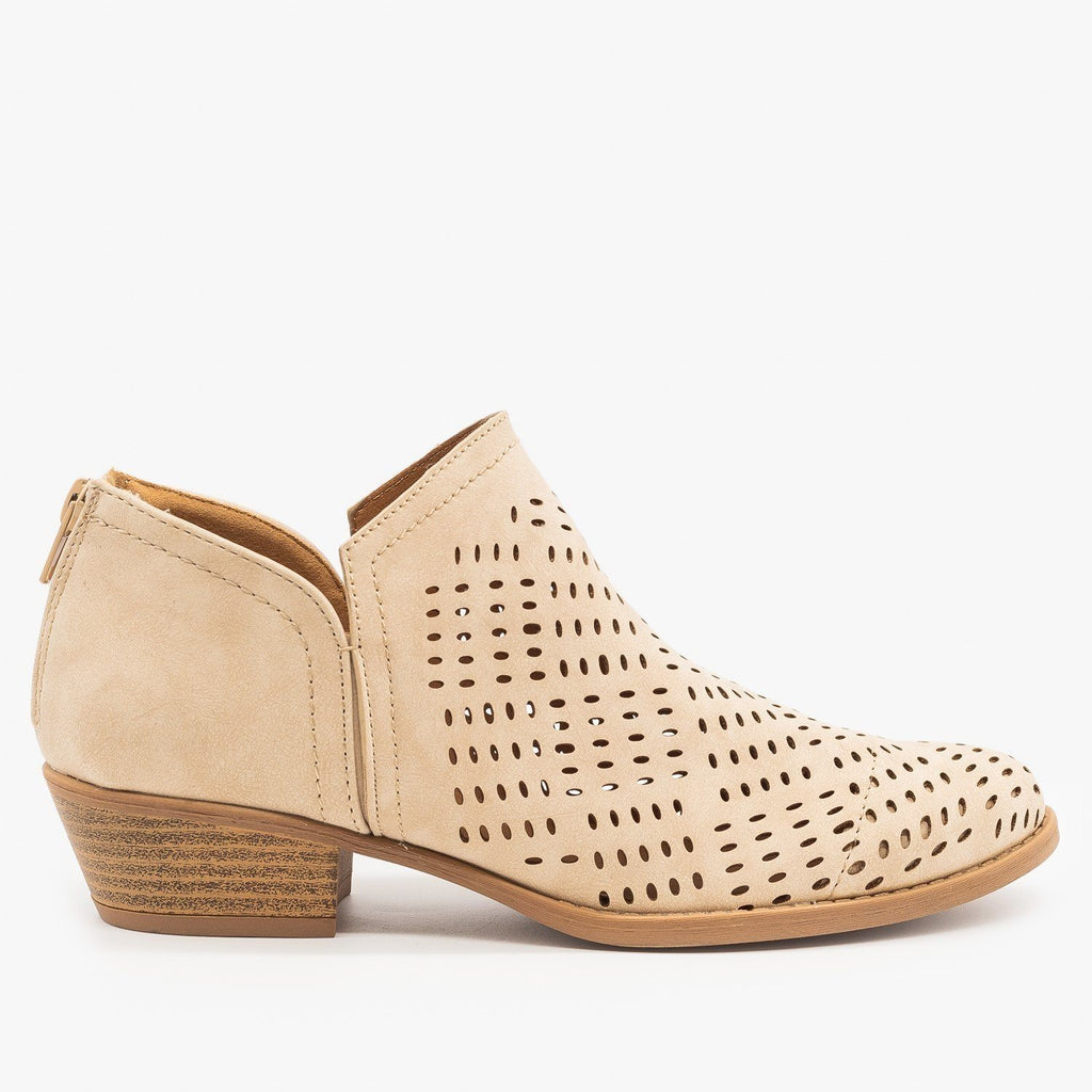 Womens Laser Cut Basket Weave Ankle Booties - Qupid Shoes - Stone / 5