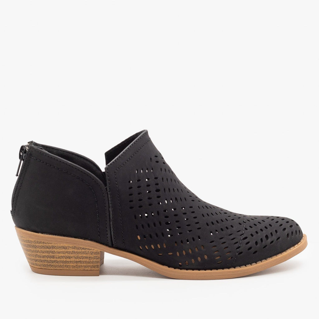 Womens Laser Cut Basket Weave Ankle Booties - Qupid Shoes - Black / 5