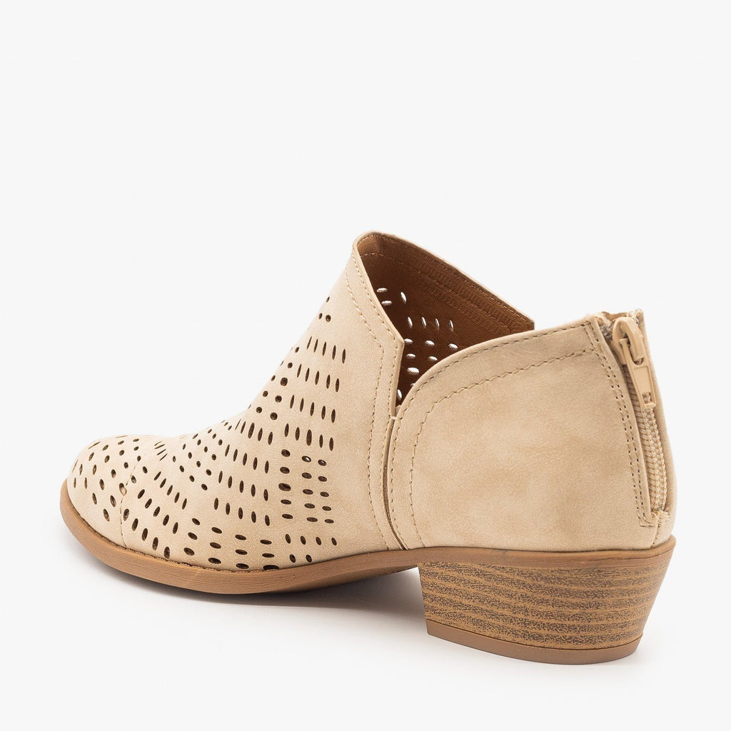 Womens Laser Cut Basket Weave Ankle Booties - Qupid Shoes