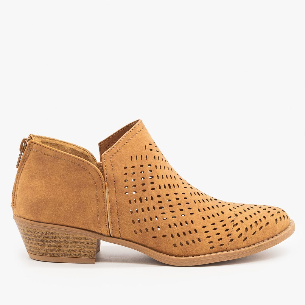 Womens Laser Cut Basket Weave Ankle Booties - Qupid Shoes - Camel / 5